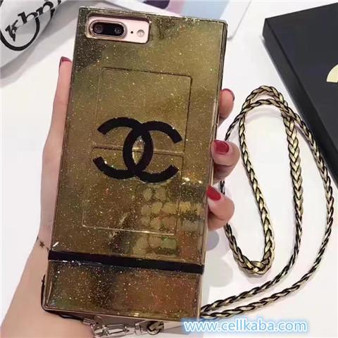 有名人愛用アイフォン8、iphone7 plusケース三色シャネルブランド四角形スクエア金属質感キラキラチェーン付き専用携帯カバー