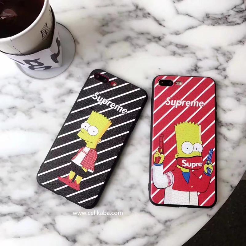 芸能人愛用のファション ブランド SUPREME iphone8 iphone7 plusとアメリカ人気アニメザ・シンプソンズのコラボレーションパロティ風ケース、放熱効果が抜群で、手持ちのあるジャケットデザインのカバー、レッド/ブラック二色揃い!