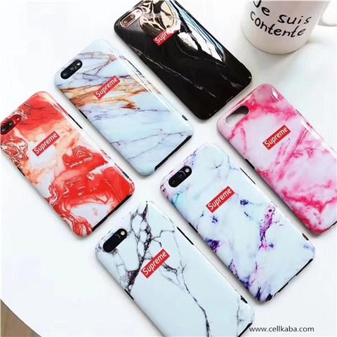 芸能人愛用ファション風Supreme iphone7 iphone7 plus 大理石紋柄ケース、普通のケースに真似しない高級風を漂う美しいスマホカバー。