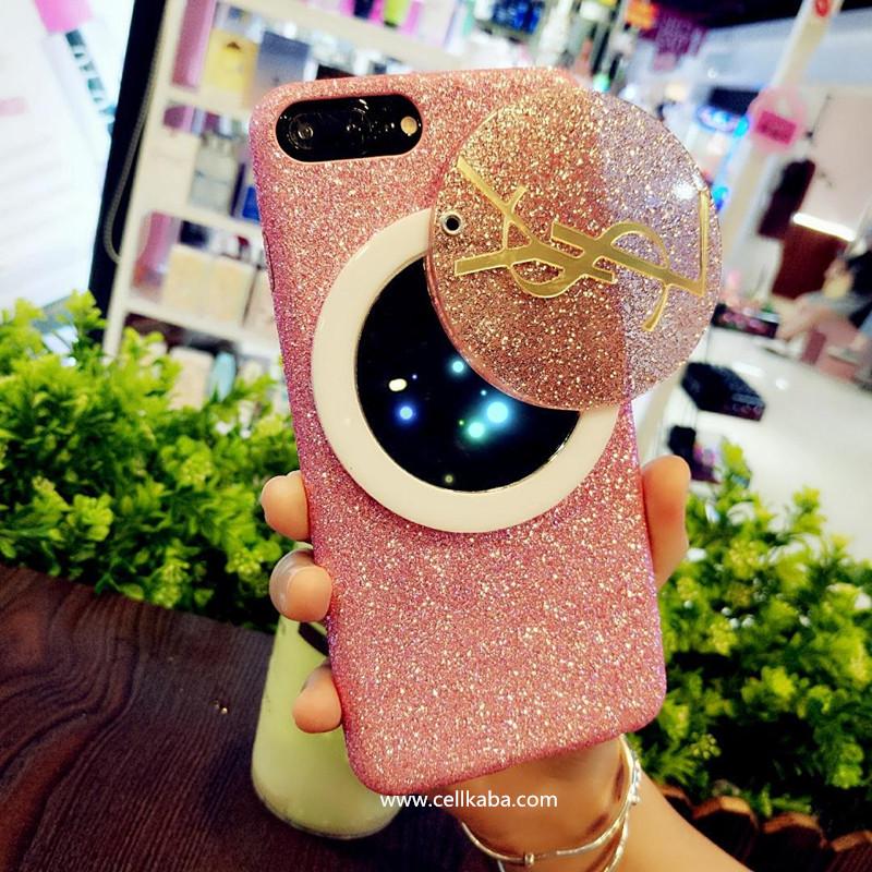 欧米贅沢ファションブランド ysl iphoneケース、女性向けの鏡付きのフラッシュパウダーデザインのアイフォン8プラス保護ケース、柔らかい手触り、キラキラで女子可愛らしいもの!