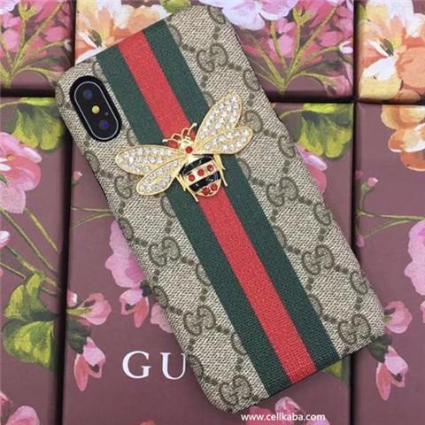 ブランドグッチスタイリッシュ風iphone Xジャケットケース、洗練された刺繍工芸が加入されたグッチ風スマホケース、レザー製で、通気性の良い、女性愛用の頑丈のGUCCI iphone8 iphone7 plus携帯ケース、頑丈なGUCCI 薄型化の携帯ケース!