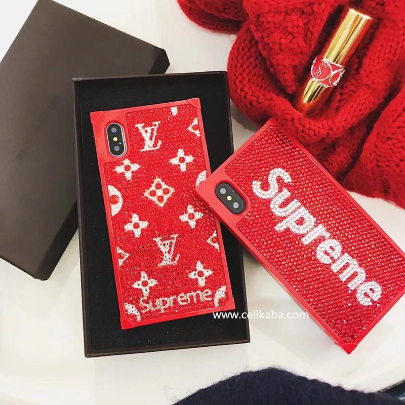 SUPREME&LV アイフォンテンケース、伝統職人が厳密で手作りしたのスマホケース、オリジナルなダイヤモンドデザインのiphone7携帯カバー、独特な工芸で、外見と光沢が抜群。