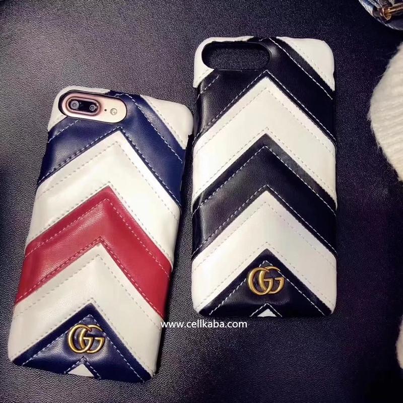 カップル向けのシンプル風 ブランド gucci 縞模様iphone8 plusケース、グッチiphone7ケース、耐衝撃で、使いやすい、芸能人も好き、激薄で、散熱加工、手に馴染みの手触り!