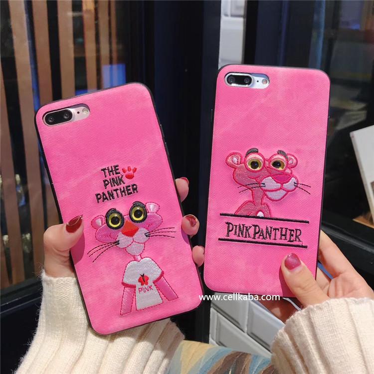 オリジナル ピンクパンサー柄 アイフォンXケース アップリケ iphone8ケース カッコイイ iphone7plusカバー カップル アイフォン6ケース 頑丈