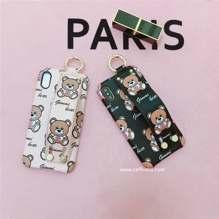 オリジナル可愛い熊柄IPHONE Xケース、ブランドアイフォンXカバー iphone7 plusジャケットケース、お洒落なハンドストラップ付き、落下防止!放熱しやすいし、見た目も超お洒落、芸能人愛用の人気カバー。