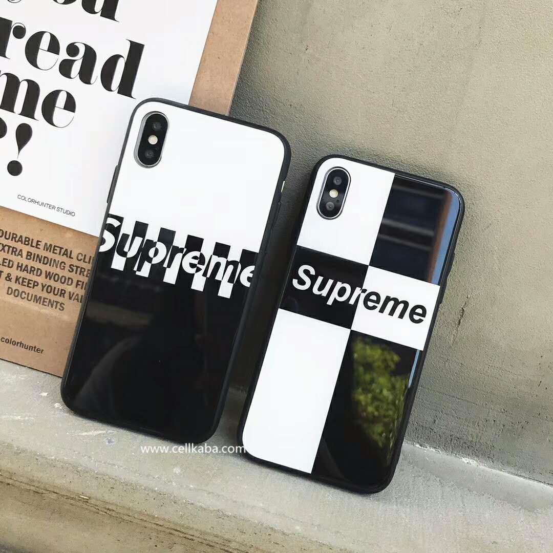 シュプリームから芸能人愛用のiPhoneX/iPhone8鏡面加工した背面ガラス携帯ケースです、上品な光沢感しています、黒白2色揃い、カップル愛用なブランドiPhone8/7/6splusカバー!