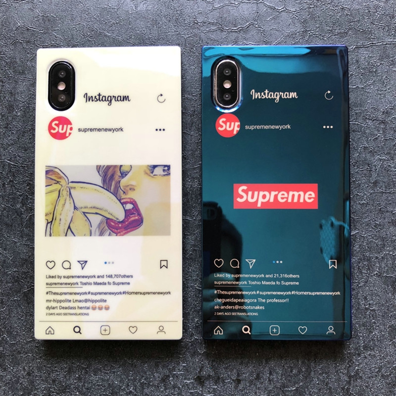 タイドブランドシュプリーム強化ガラス製iphoneXS plusデコケース、芸能人愛用アイフォン9/8/7携帯カバー。かっこいいトランク型、個性なブルーレイ、高級感を増加しながら保護性も一層加強できます。