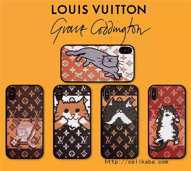 キュート風のルイヴィトンiPhoneX/Xsケース、可愛い猫をモチーフしたiPhone8/7 Plusケース、アイフォンテンアールカバー新品が人気登場!海外の芸能人愛用保護ケース、送料無料!