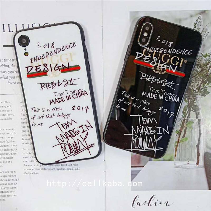 ブランド グッチgucci落書き風iphonexrケース iphonexs maxケース iphonexsケース、黒白2色揃い、ジャケット系iPhone8/7Plusカバーがカップルの中で大人気!