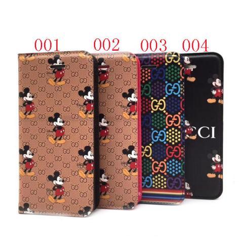 手帳型 グッチとミッキーのコラボ iPhone11proケース 特別 可愛い グッチ アイフォンXS MAX/XRカバー お洒落 人気 Gucci iPhone11ケース 送料無料